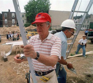 Former President Jimmy Carter, working with Habitat for Humanity to help provide housing for the poor