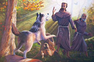 StFrancis faces the wolf