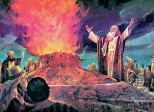 Elijah calling down fire on Mt. Carmel