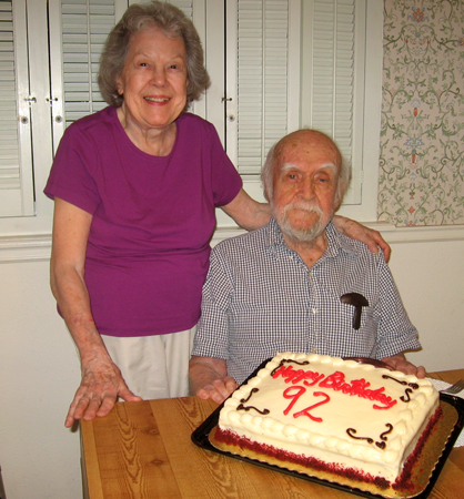 My dad, with my mom, on his 92nd birthday, November, 2013