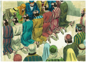 The Apostles pray for the 7 deacons in Acts 6.