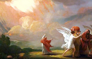 Lot flees Sodom, his wife looks back.