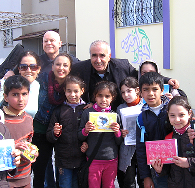 Some of the Syrian kids with school supplies we brought for them.