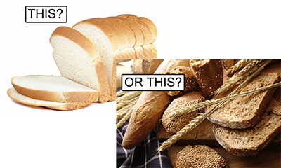 white bread or whole grain flat